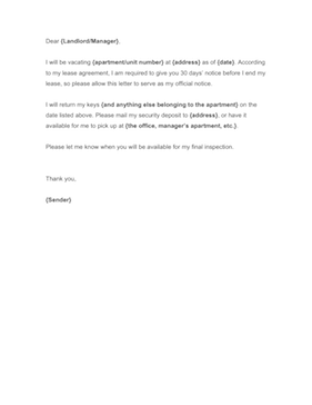 Letter Form - Tenant Notice To Vacate Letter. Landlord Notice ...