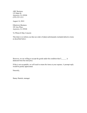 acceptance of defective goods letter business form template