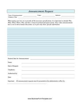 Announcement Request Template