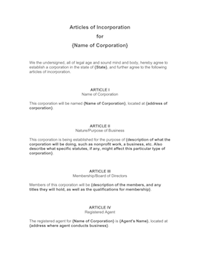 Articles of incorporation template for Articles of partnership template
