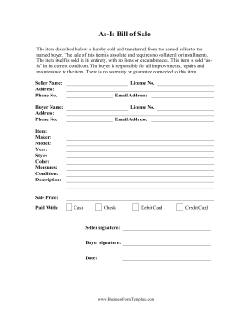 Current image intended for bill of sale form printable