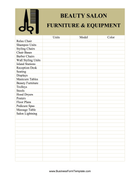Beauty salon equipment and furniture inventory card template for Nail salon sign in sheet template
