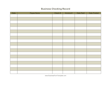 Business checking record template for Registrator health check