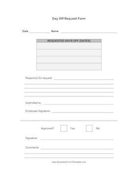 Time Off Request Form Template | 2016 Car Release Date
