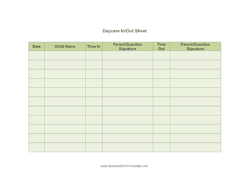 Daycare Sheet Multiple Template