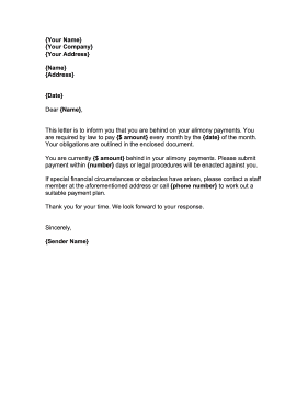 Demand Alimony Payment Letter Template
