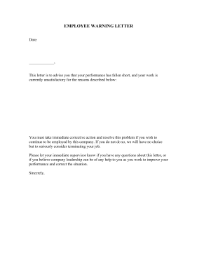 Employee warning letter template employee warning letter business form template altavistaventures Image collections