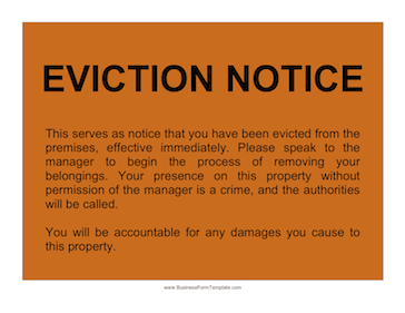 Sample Of Eviction Notice  Eviction Letter Sample