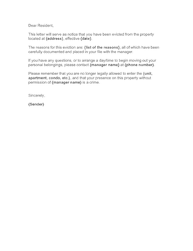 eviction notice letter template