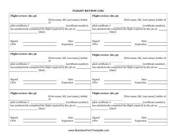 Flight review log template for First flight certificate template