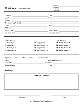 Room Reservation Request Form Template