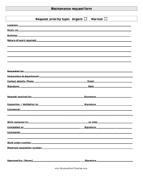 maintenance request this printable form can be used to formally ...