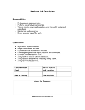 Mechanic_Job_Description Job Application Form For Mechanic on part time, big lots, sonic printable, free generic, blank generic,