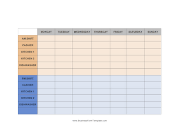 restaurant shift schedule weekly schedule with room for the am and pm ...