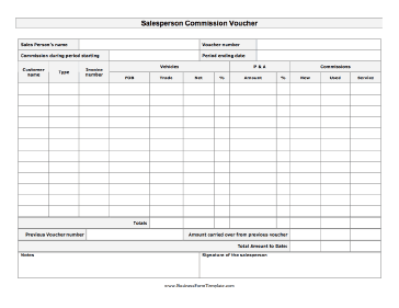 salesperson commission voucher this detailed sales commission voucher