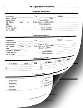 tax organization worksheet two pages template. Black Bedroom Furniture Sets. Home Design Ideas