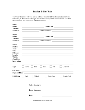 trailer bill of sale this free printable bill of sale can be used when