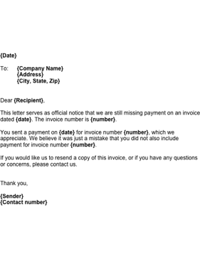 Sample Business Letter Unpaid Invoice