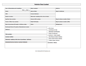 Vehicle Deal Jacket Template