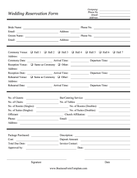 Wedding reservation form template for Event booking form template word