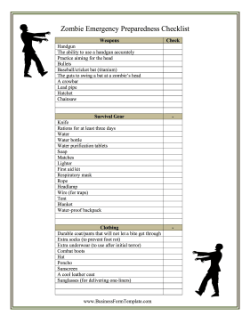 Zombie preparedness checklist natural disasters in for Emergency response checklist template